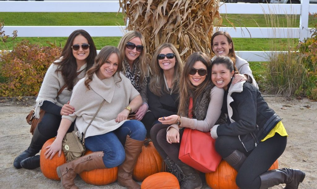 Girls Pumpkin Picking