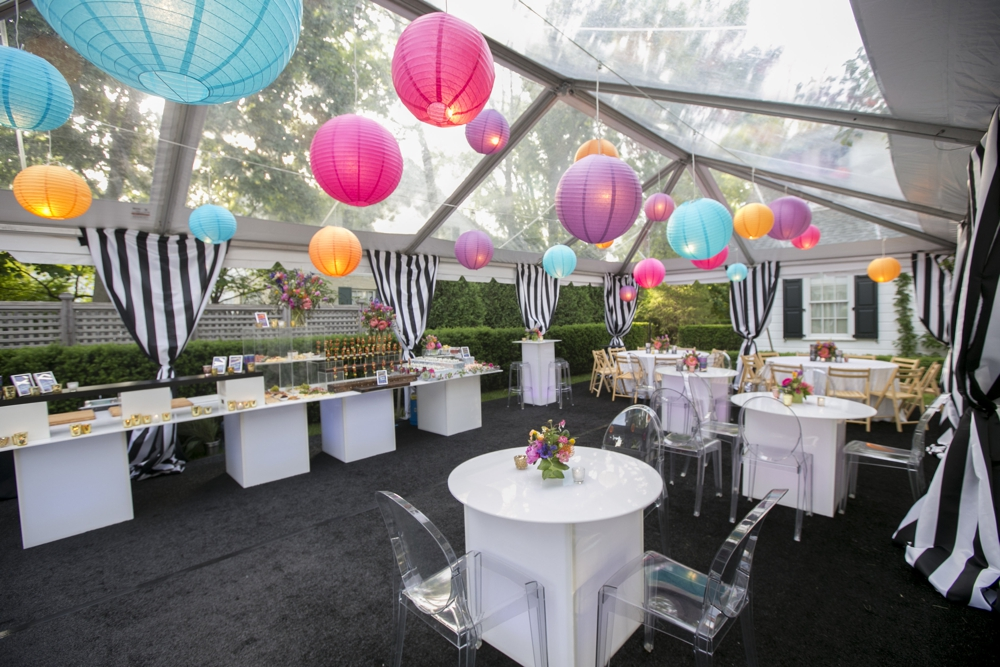 Clear span tent party decor